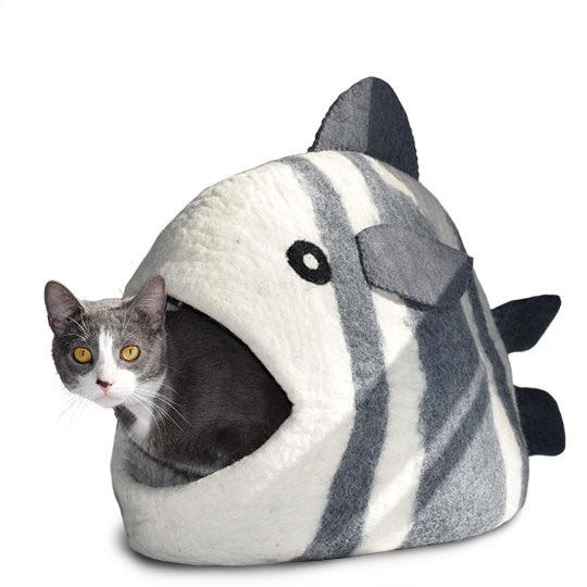 Dharma Dog Karma Cat Dharma Dog Karma Cat Wool Felt Fish Cave White and Grey