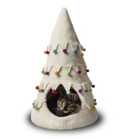Dharma Dog Karma Cat Dharma Dog Karma Cat Wool Felt Christmas Tree Cave White