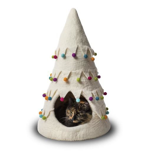 Dharma Dog Karma Cat Dharma Dog Karma Cat Wool Felt Christmas Tree Cave White