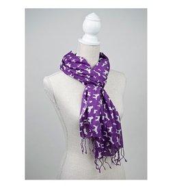 "Dog Speak 100% Rayon Scarf Printed Dog Breeds Purple/White 28x72"""