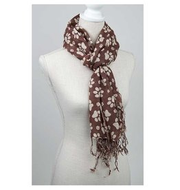 Dog Speak 100% Rayon Scarf Paws Ivory/Brown 28x72""