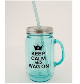 Vintage Double Wall Mason Jar 20oz Keep Calm and Wag On