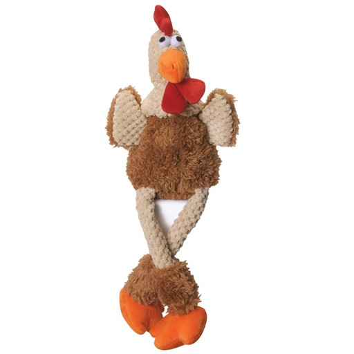 Go Dog Go Dog Chew Guard Checkered Skinny Brown Rooster Large
