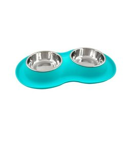 Fou Fou Dog Fou Fou Silicone Double Bowl Small Teal