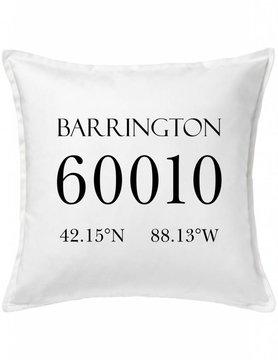 White Custom Pillow-6A-Zip Code & Coordinates