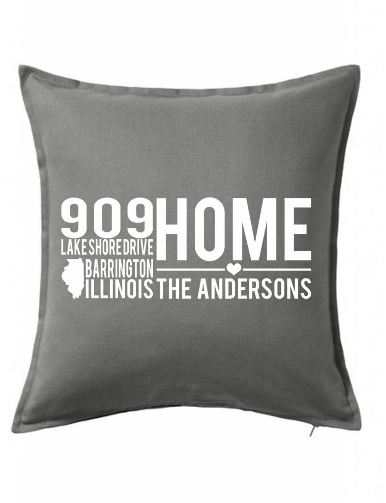 Gray Custom Pillow-9B-Home On A Quiet Street