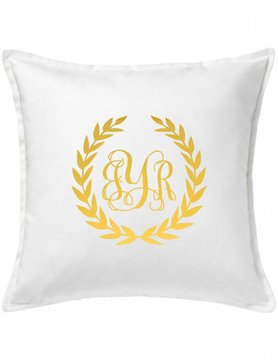 White Custom Pillow-10A-Monogram Wreath