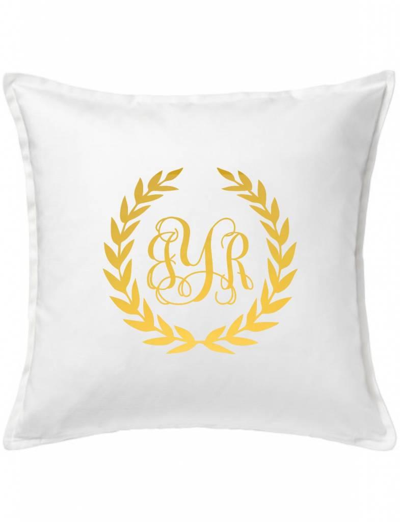 White Custom Pillow-10A-Monogram Wreath