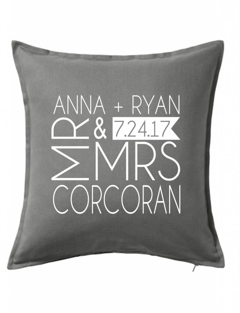 Gray Custom Pillow-37B-Mr. & Mrs.