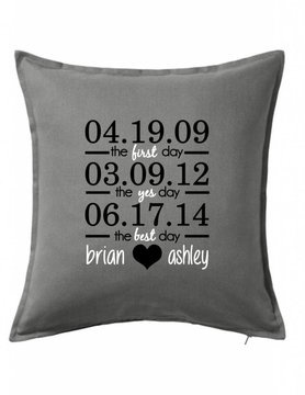 Gray Custom Pillow-39B-First, Yes, Best Day