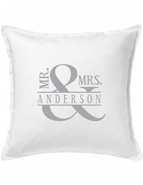 White Custom Pillow-44A-Mr. & Mrs. Ampersand