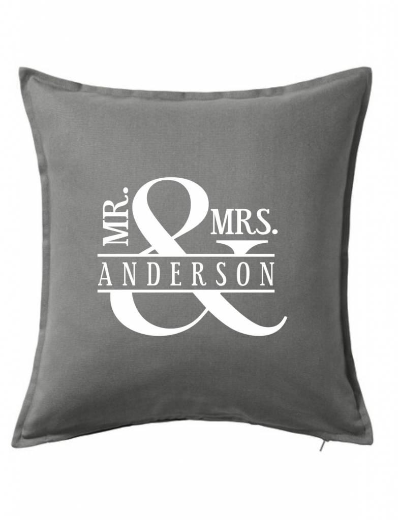 Gray Custom Pillow-44B-Mr. & Mrs. Ampersand