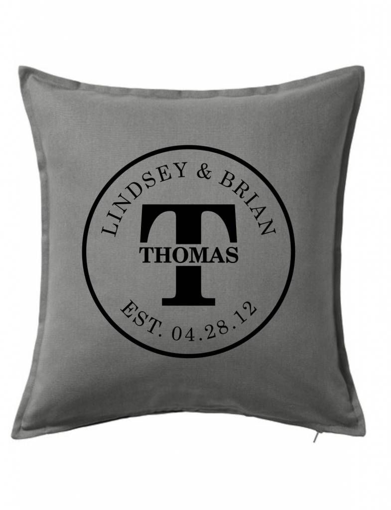 Gray Custom Pillow-45B-Initial Couple