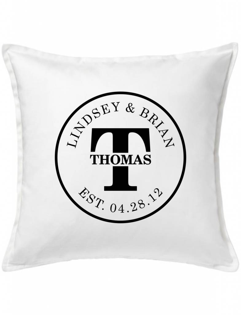 White Custom Pillow-45A-Initial Couple