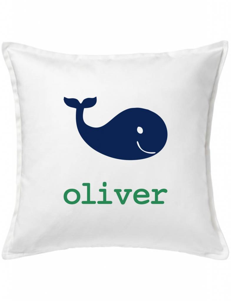 White Custom Pillow-75A-Happy Whale