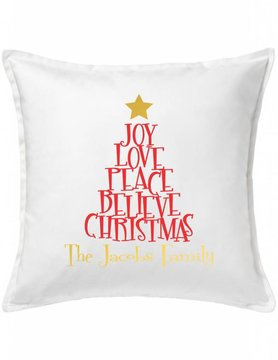 White Custom Pillow-91-Christmas Tree of Words