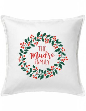 White Custom Pillow-96-Holly Day Wreath