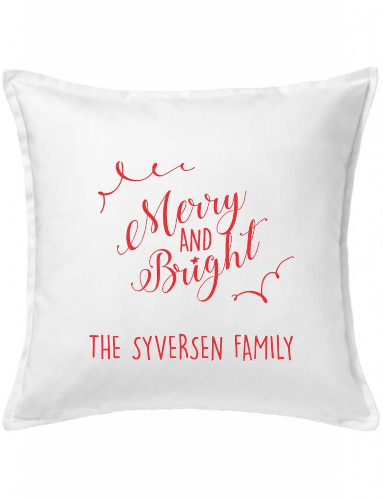 White Custom Pillow-100A-Merry and Bright