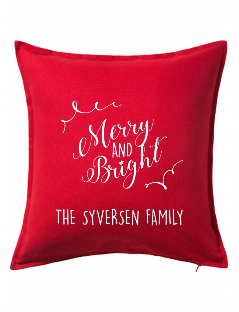 Red Custom Pillow-100B-Merry and Bright