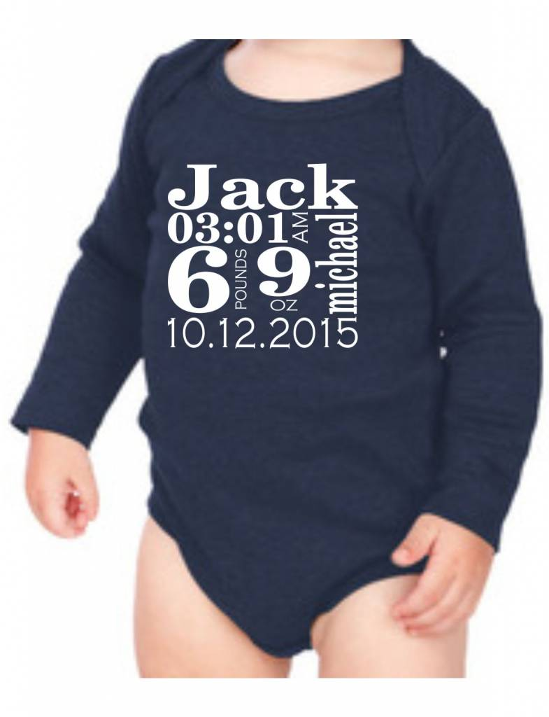 #634 Infant Long Sleeve Onesie-KID7A-Traditional Announcement