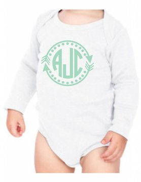 #634 Infant Long Sleeve Onesie-KID21-Arrow Monogram