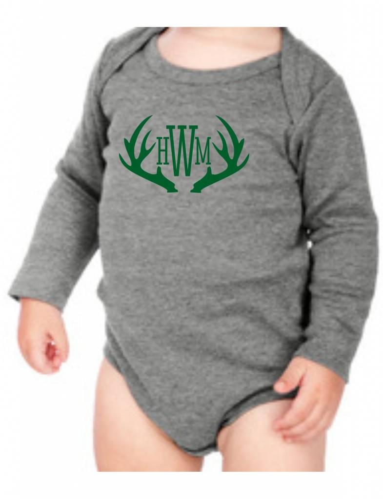 #634 Infant Long Sleeve Onesie-KID25-Antler Monogram