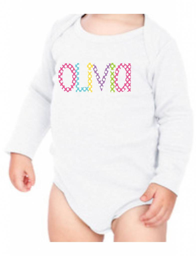 #634 Infant Long Sleeve Onesie-KID31-Polka Dot Name
