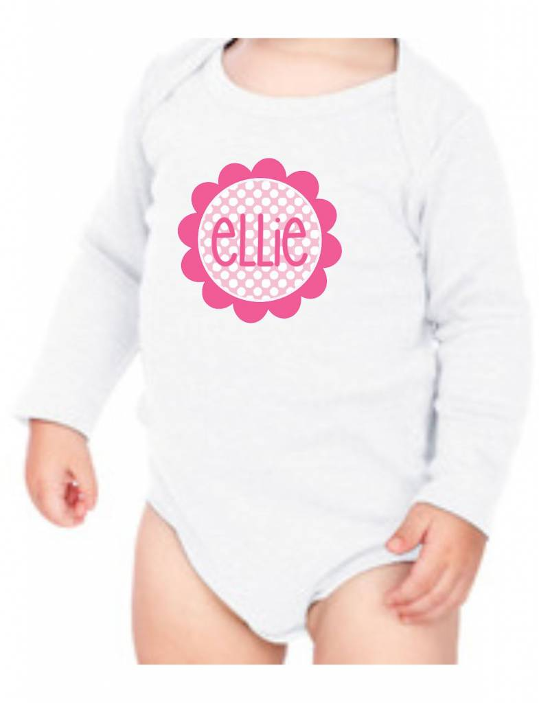 #634 Infant Long Sleeve Onesie-KID39-Polka Dot Flower
