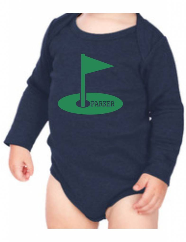#634 Infant Long Sleeve Onesie-KID78-Littlest Golf Fan