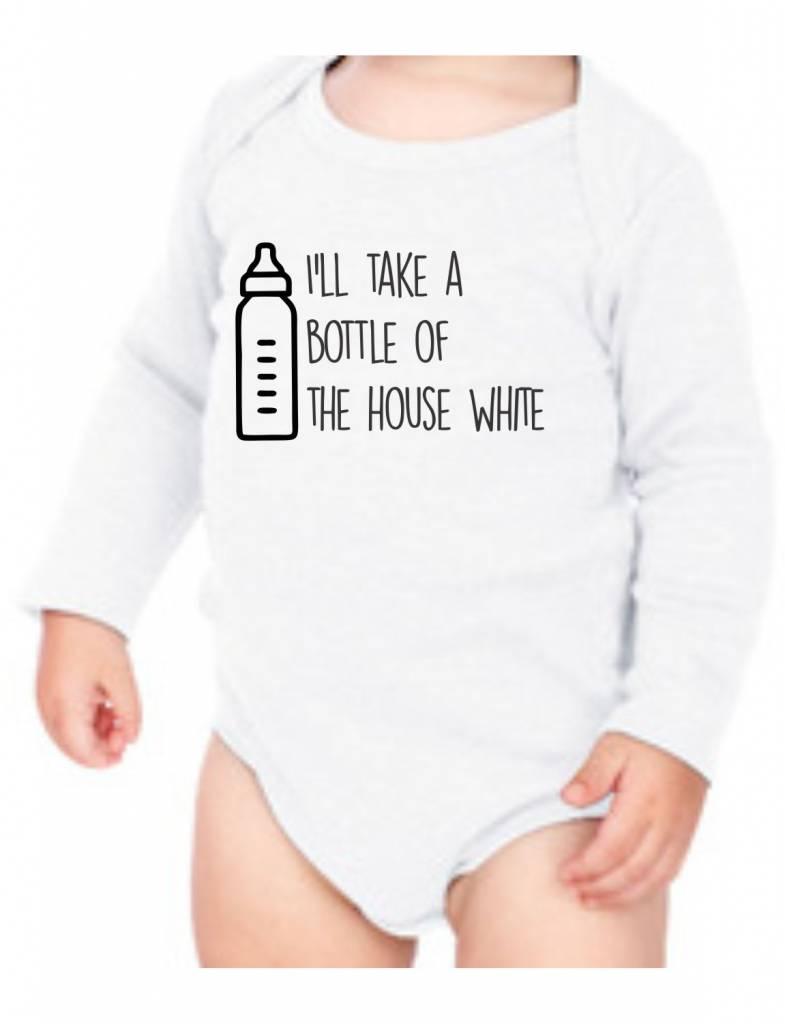 #634 Infant Long Sleeve Onesie-KID117-House White