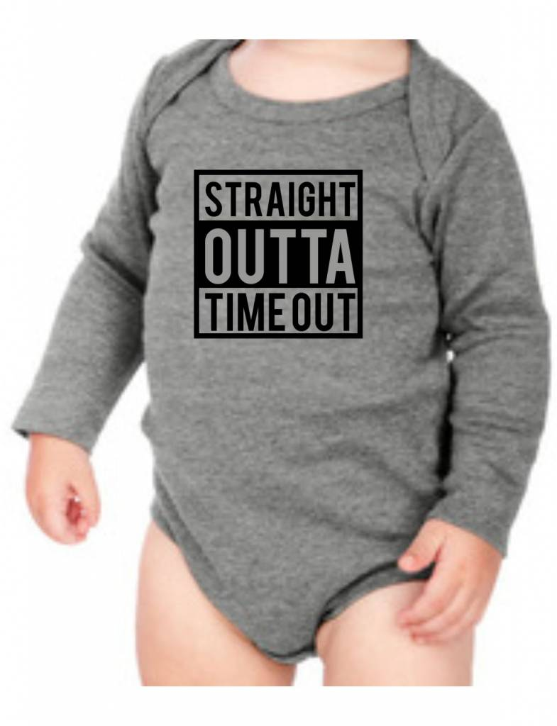 #634 Infant Long Sleeve Onesie-KID119-Straight Outta Time Out