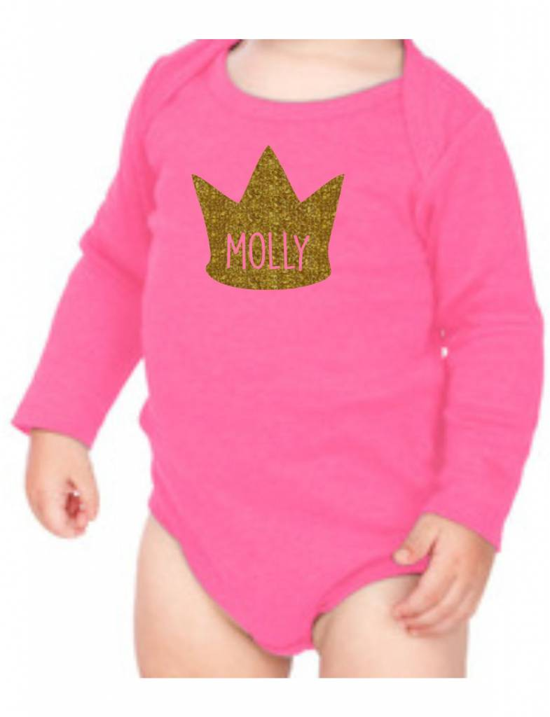 #634 Infant Long Sleeve Onesie-KID46-Sparkle Crown