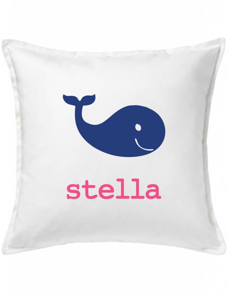 White Custom Pillow-75B-Happy Whale