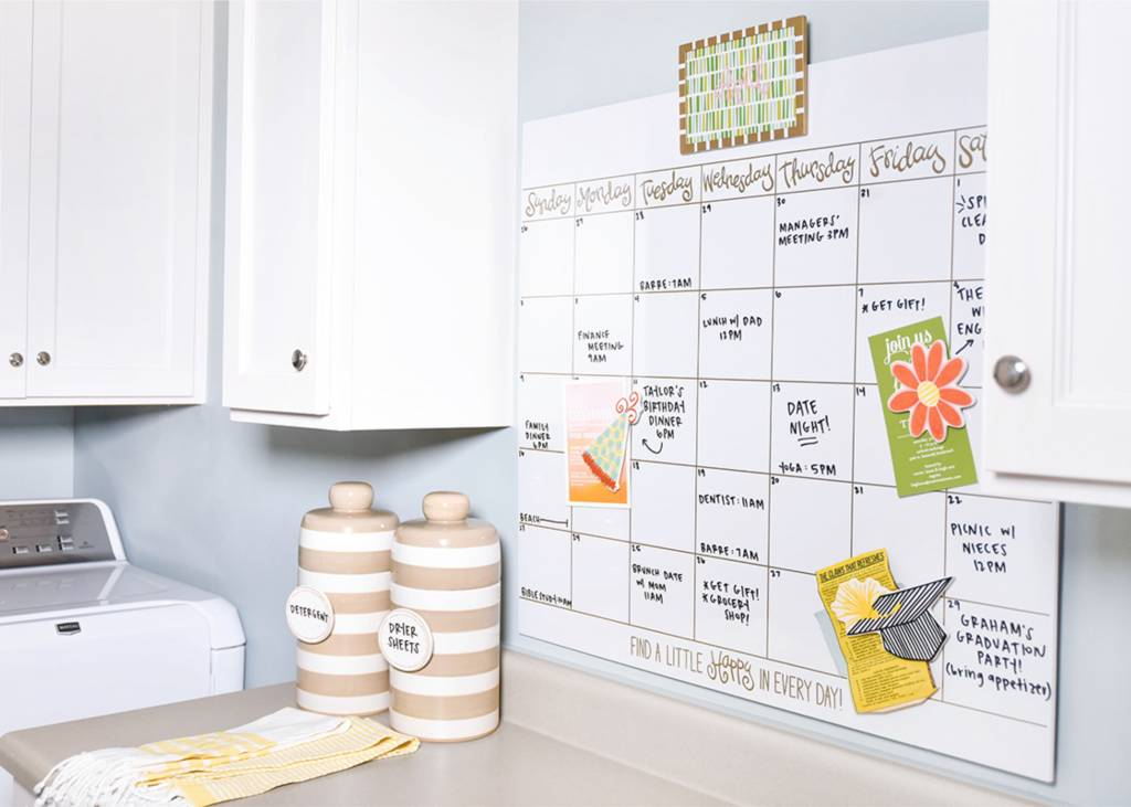 Happy Everything Magnetic Dry Erase Wall Calendar with Gold Frame Attachment and Month Inserts