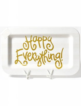 White Stripe Happy Everything Mini Rectangle Platter