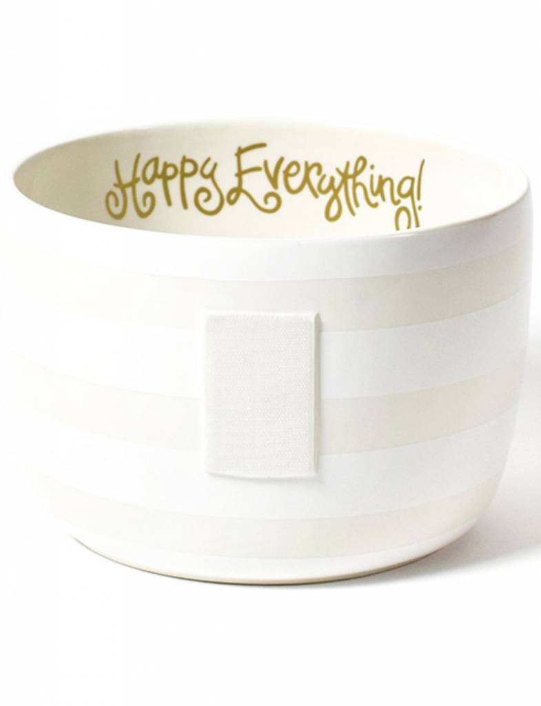 White Stripe Happy Everything Big Bowl