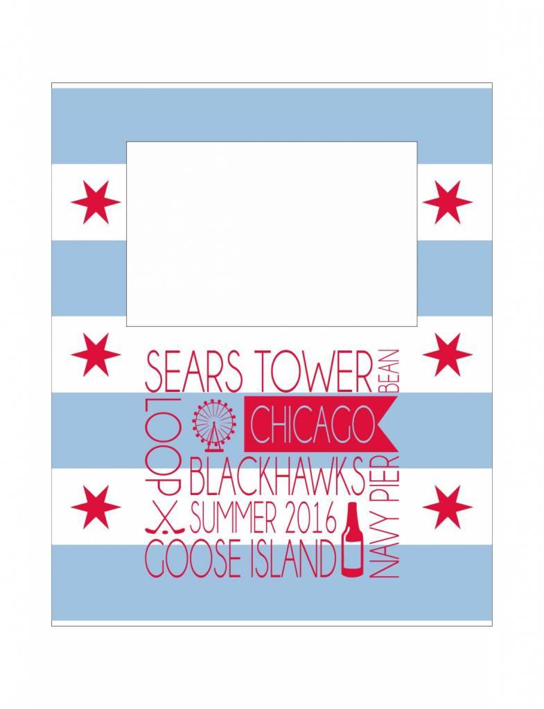 Custom Frame-FRM29-Chicago Flag