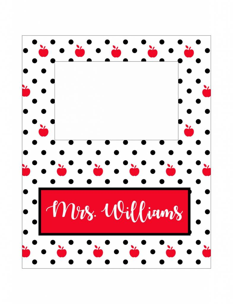 Custom Frame-FRM36-Teacher Apple Polka Dot