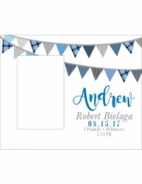 Custom Frame-KDF23-Blue Flag Banner Birth Announcement