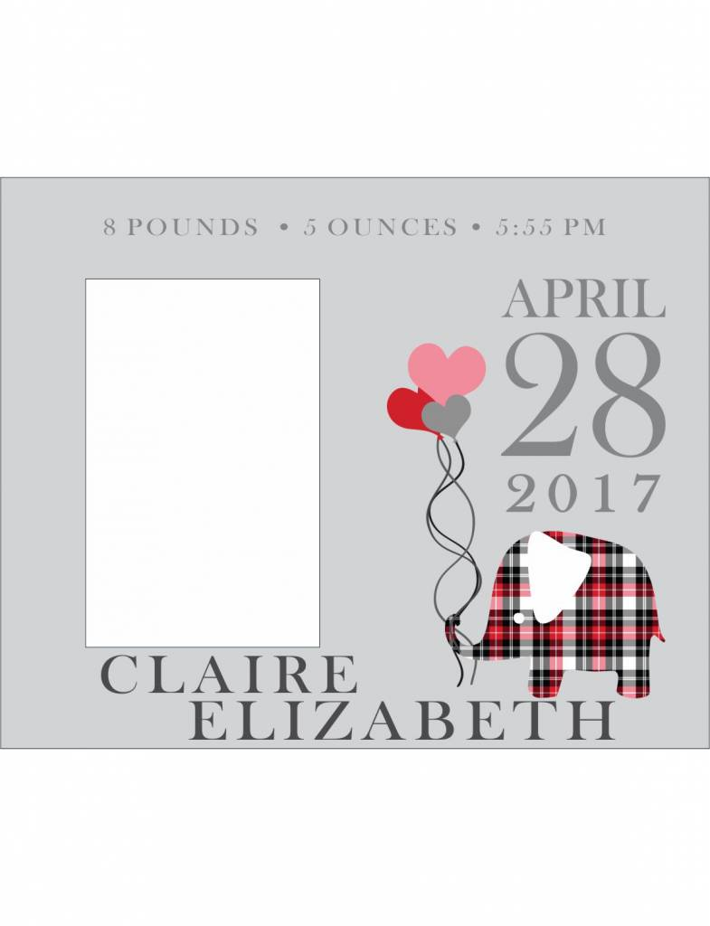 Custom Frame-KDF25-Plaid Elephant Birth Announcement