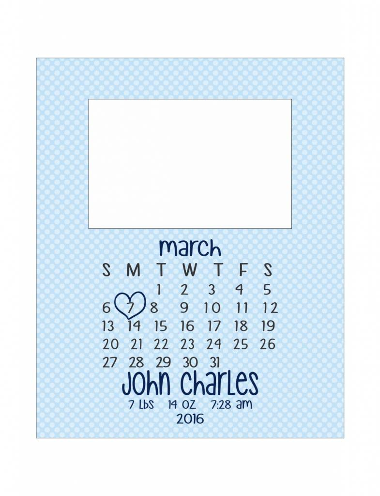 Custom Frame-KDF20-Handwritten Calendar Birth Announcement