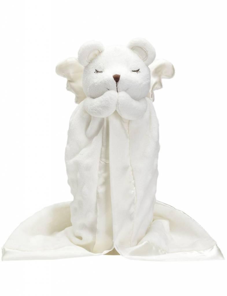 White Prayer Bear Blankie, Embroidered