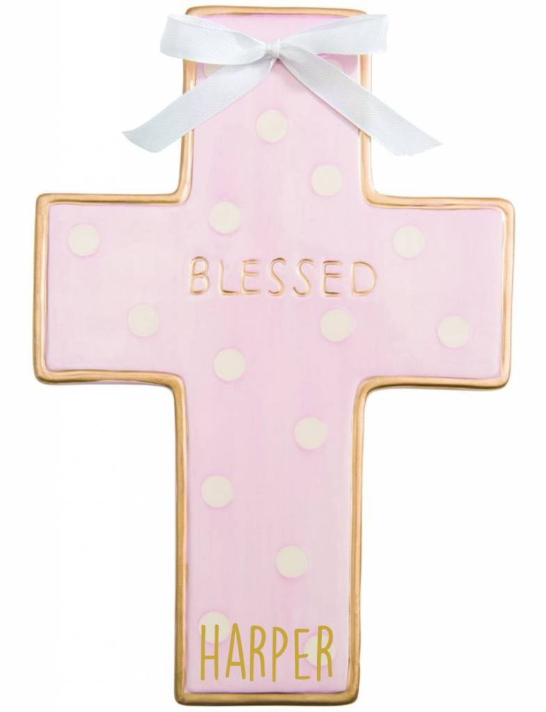 Pink Dot Ceramic Cross, Personalized