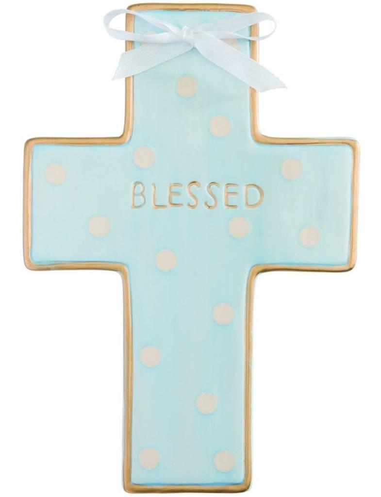 Blue Dot Ceramic Cross, Personalized