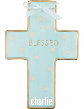 Blue Dot Ceramic Cross, Personalized