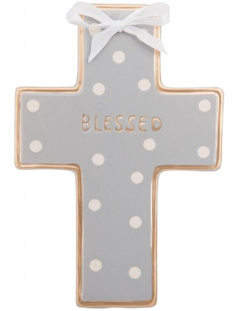 Gray Dot Ceramic Cross, Personalized