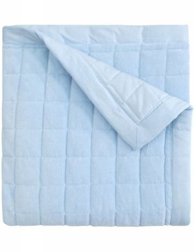 Blue Velour Quilt Blanket, Embroidered