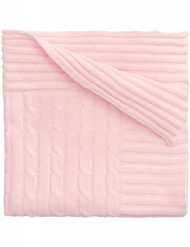 Pink Cable Knit Blanket, Embroidered