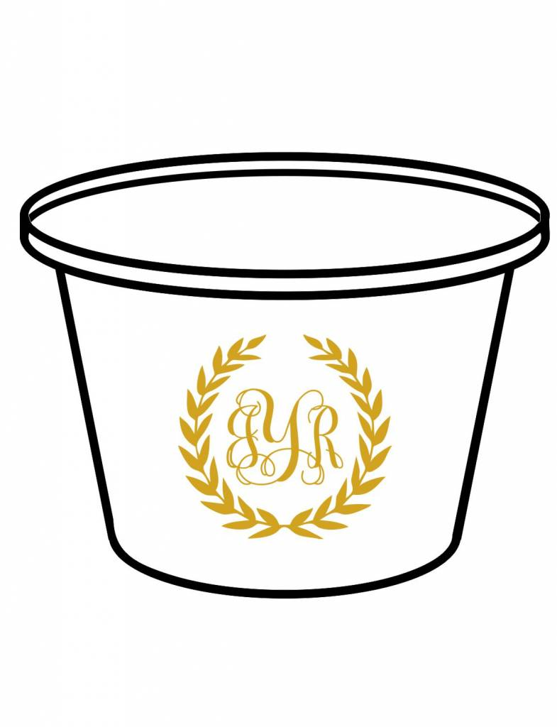 Acrylic Party Bucket-ACR 1-Laurel Wreath Monogram