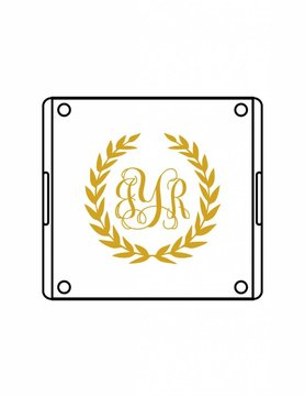 Acrylic Square Tray-ACR1-Laurel Wreath Monogram